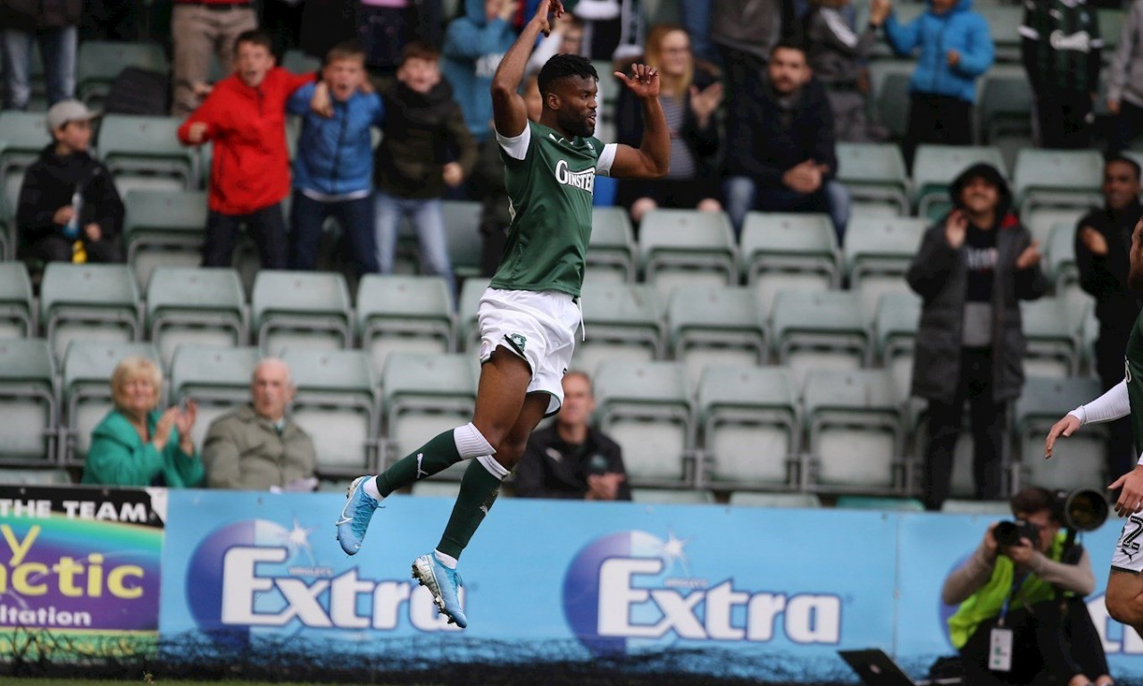 Joel Grant Celebrates, Argyle v Carlisle United, 19 October 2019